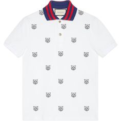 Gucci Cotton Polo With Tiger Head Embroidery ($670) ❤ liked on Polyvore featuring men's fashion, men's clothing, men's shirts, men's polos, white, mens embroidered shirts, men's cotton polo shirts, mens white shirts, mens white cotton shirts and mens white button down shirt