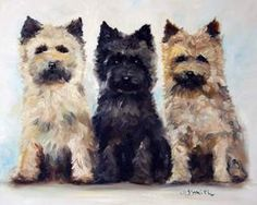 """Mary Sparrow Smith from Hanging the Moon – dog art, pets, portrait, paintings, gift ideas, home decor. Cairn Terriers. """"Three's Company"""""""