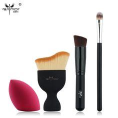 Nuevo Diseño de Cepillo de Base Kit 4 unids Pinceles de Maquillaje Crema Cosmética Powder Blush Pincel de Maquillaje