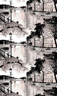 Aurajoki Fabric 150x91 cm – Vallila Online Store Old Street, City Scene, Auras, Summer Sale, Finland, Serenity, Scandinavian, Romantic, River