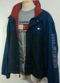 Vtg 90s Tommy Hilfiger Blue Color Block Nylon Sleeve Spell Out Sailing Jacket XL #TommyHilfiger #BasicJacket