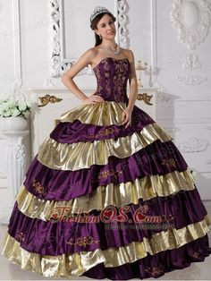 Sweet Purple and Gold Quinceanera Dress Strapless Floor-length Taffeta Embroidery Ball Gown  http://www.fashionos.com  The exquisite strapless bodice is accented by specific embroidery.The ball gown floor length skirt adorned by the tiers of ruffles and the contrasting color bring this dress dramatic effect.The lace up back completes the look.You will look like a noble pricess on the dress.