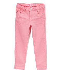 Neon Light Pink Stretch Sateen Twill Pants - Toddler & Girls