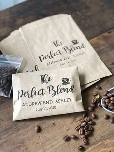 Coffee Favor Bags- Wedding Favors - Bridal Shower Coffee Favors- Coffee Bean Espresso Favors - Set of 25 custom paper bags The Perfect Blend by DetailsonDemand on Etsy