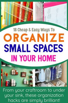 18 Cheap & Easy Ways To / Organize / Small Spaces / In Your Home / From your craftroom to under your sink, these organization hacks are simply brilliant! Under Sink Organization, Small Space Organization, Home Organization Hacks, Planner Organization, Organisation Ideas, Organizing Tips, Getting Organized At Home, Household Budget, Craft Storage