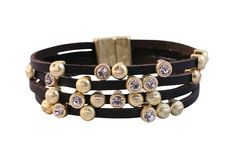Zirconmania - Cubic Zirconia Fine Jewelry Black leather multi strand bracelet featuring gold brushed nugget stations and scattered cubic zirconia stones, finished with a magnet closure