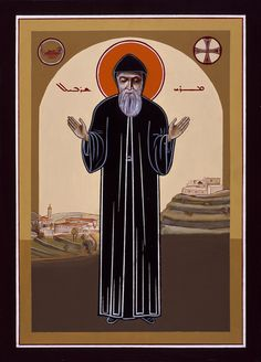 Saint Charbel. Maronite Syriac icon