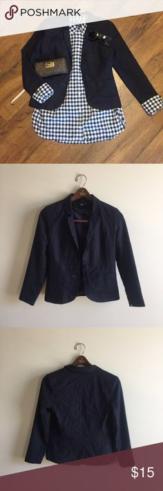 Navy Blue Fitted Blazer This Navy Blue Blazer adds a clean look to any wardrobe. Features  a two button closure and faux pockets. Slim fit. Perfect to wear to work or a business casual dinner. ASOS Jackets & Coats Blazers