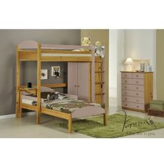Verona Design Maximus L Shape High-Sleeper Bedroom Set with Drawers in Antique Pine and Pink