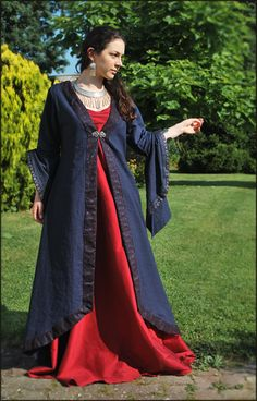 Linen coat with silk underdress, by Lorliaswood
