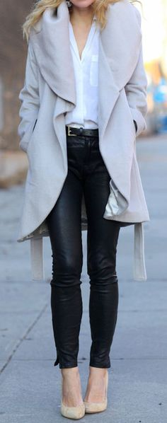 Leather Skinny Pants & Open Front Trench Coat ❤︎ #street #fashion