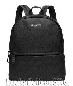 Michael Kors Keiran MK Signature TECH Padded Pocket PVC Large Backpack Black NWT #MichaelKors #Backpack