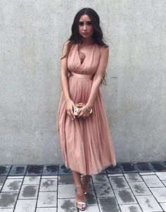 Elegant V Neck Pink Tea Length Prom Dress on Luulla