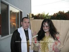 Homemade Reagan MacNeil and Priest Couple Costume: This Homemade Reagan MacNeil and Priest Couple Costume idea started out as my cousin's, but she couldn't attend the Halloween party we were all going to,