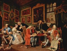 Marriage à-la-mode is a series of six pictures painted by William Hogarth between 1743 and 1745 depicting a pointed skewering of upper class 18th century society. This moralistic warning shows the disastrous results of an ill-considered marriage for money and satirizes patronage and aesthetics. (All 6 with descriptions on Wikipedia.)