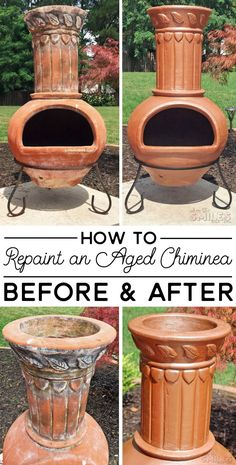 Bring an aged chiminea back to life with just a little elbow grease and spray paint! This can also be used for repainting grills and fire pits, too! Copper Spray Paint, Spray Paint Cans, Black Spray Paint, Spray Painting, Painting Tricks, Clay Chiminea, Chiminea Fire Pit, Chimnea Outdoor, Clay Fire Pit