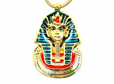 King Tut Colorful Necklace Death Mask Pendant Gold by imagiLena