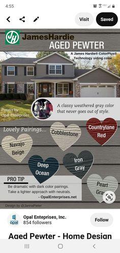 Exterior Color Schemes, Siding Colors, Dark Colors, Gray Color, Color Pairing, House Design, Architecture Design, House Plans, Home Design