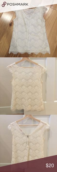 The Limited Lace Blouse Beautiful lace Blouse in cream from The Limited Scandal Collection. Lined with zipper in the back. In excellent condition. Runs small. The Limited Tops Blouses