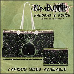 Zombie bunny bag Zombie Bunny, Bunny Bags, Weekender Tote, Gothic, Pouch, Goth, Sachets, Porch, Belly Pouch
