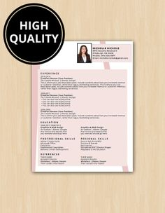 Nichols Professional Resume Template and Cover Letter - Easy to Edit - Instant Download - DocX and Doc Format