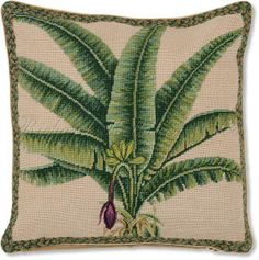 Palm Tree Pillow - Floral Pillows at NeedlepointPillows.com