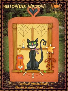 E PATTERN Halloween Window Grinning Cat & Pumpkin by skb007