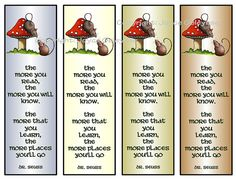 Instantly Printable Bookmarks: Mice, Toadstool; Quote Dr Seuss by joyart, $3.50