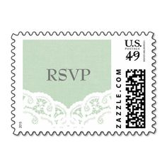 Mint Lace Doily Wedding RSVP Postage Stamps