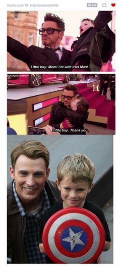 The little boy with iron man is soooo adorable and the little kiss he gives his favourite hero......