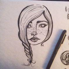 ©sandi devenny #doodles #sandidoodles #illustration #face #girl #stylized #penandink #ink