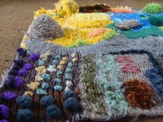 a knitted farm mat - the vege patch