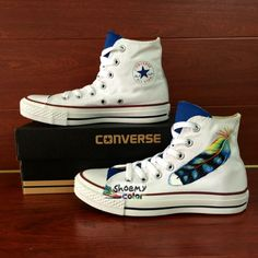 854b9e36fcbc White Converse All Star Feather Hand Painted High Top Canvas Sneakers