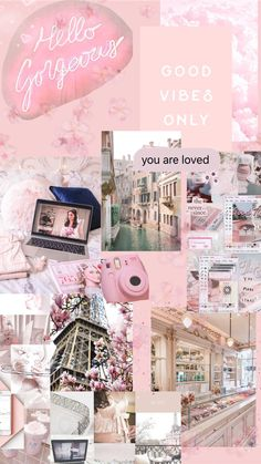 Pink aesthetic phone wallpaper collage