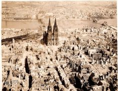 """The Dom Cathedral (Kölner Dom) in Cologne, Germany WWII, May 10th, 1945. """"Trolley Missions""""...Kölner Dom in Köln, Deutschland WWII, 10. Mai 1945. """"Trolley-Missionen"""" by David C. Foster, via Flickr"""