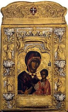 Panagia Soumela or Panagia Soumeliotissa was painted by St. Luke the Evangelist according to tradition. The icon predates the historic Monastery of Panagia Soumela which was built at Trapezounta in Pontus. Byzantine Icons, Byzantine Art, Early Christian, Christian Art, Religious Icons, Religious Art, Luke The Evangelist, Mother Of Christ, Mother Mary