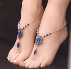 Items similar to Gold Blue Boho Barefoot Sandals on Etsy Gold Blue Boho Barefoot Sandals by MelekDesigns on Etsy Ankle Jewelry, Ankle Bracelets, Pies Sexy, Ankle Chain, Beautiful Toes, Silver Anklets, Sexy Toes, Women's Feet, Bare Foot Sandals