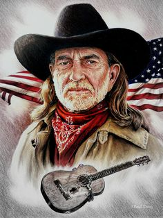 Willie Nelson American Legend by Andrew Read ~ graphite & colored pencils - Tattoo Images Country Musicians, Country Music Artists, Country Singers, Willie Nelson, Outlaw Country, Tv Westerns, American Legend, Celebrity Drawings, Rodeo