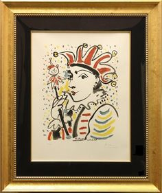 """EDITION : 300, Hand signed by Pablo Picasso; VERY RARE. This lithograph was created after a gouache by Pablo Picasso created in 1958. This image was also used in the publication. """"CARNAVAL, AKA, CARNIVAL and LE ROI CARNIVAL"""". 