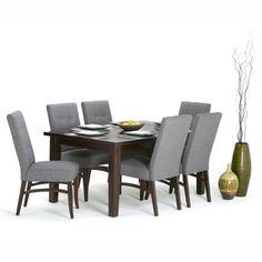 Simpli Home Ezra 7 Piece Dining Set, Gray