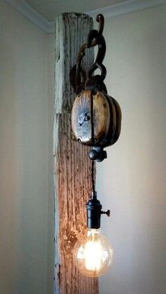 Reclaimed pulley floor lamp made by Resurrected Goods. Follow us on Facebook! #campinglights