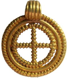 Anglo-Saxon gold cross pendant, early seventh century. M.64-1904, from excavations at King's Field, Faversham.