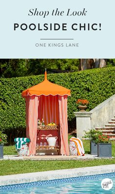 Make sure your poolside style makes a serious splash this summer with our most fun and festive outdoor furnishings, pool toys, towels, games and cabana tents of course! Make this summer your chicest one yet — shop them all on One Kings Lane. Outdoor Wicker Patio Furniture, Outside Furniture, Outdoor Decor, Above Ground Pool, In Ground Pools, Outdoor Spaces, Outdoor Living, Beautiful Pools, Garden Pool