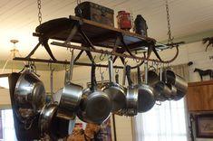 Make your own Wooden Vintage Sled - Scavenger Chic Pot Rack Hanging, Hanging Pots, Sled Decor, Vintage Sled, Pot Hanger, Weathered Wood, Porch Decorating, Decorating Ideas, Decor Ideas