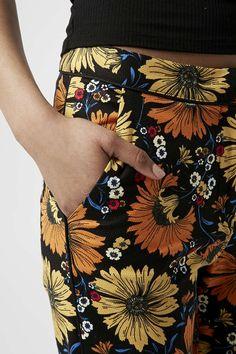 Daisy Print Cigarette Trousers - Topshop