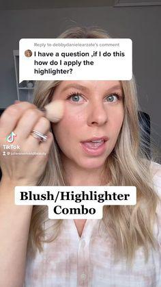Dewy Makeup, Makeup Dupes, Eyebrow Makeup, Natural Makeup, Makeup Brushes, Face Makeup, Where To Apply Blush, Where To Apply Highlighter, Blush Tutorial