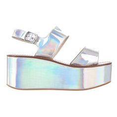 Windsor Smith Tease (6.155 RUB) ❤ liked on Polyvore featuring shoes, sandals, heels, silver hologram, platform wedge sandals, silver heeled sandals, flatform wedge sandals, slingback sandals and ankle strap heel sandals