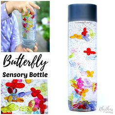Discovery jars like this DIY butterfly sensory bottle can be used for safe no mess sensory play, a science teaching aid, a time out tool, and to help an anxious child (or adult) calm down and unwind. They're also an easy way for babies and toddlers to safely investigate items without the risk of choking on them.