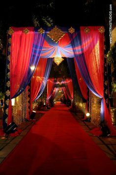 Indian Decor Setup - Perfect for a Sangeet Night. Weddings n More - Our Work Moroccan Party, Moroccan Theme, Moroccan Wedding, Wedding Entrance, Wedding Mandap, Entrance Decor, Marriage Decoration, Wedding Stage Decorations, Flower Decorations