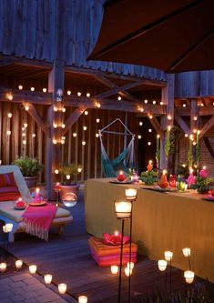 Home Exterior Decorating with Outdoor lighting Bar Deco, Palette Deco, Rooftop Party, Outdoor Lighting, Outdoor Decor, Lighting Ideas, Home Deco, Outdoor Spaces, Outdoor Gardens